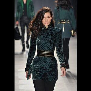 BALMAIN x H&M Green Floral Velvet Dress